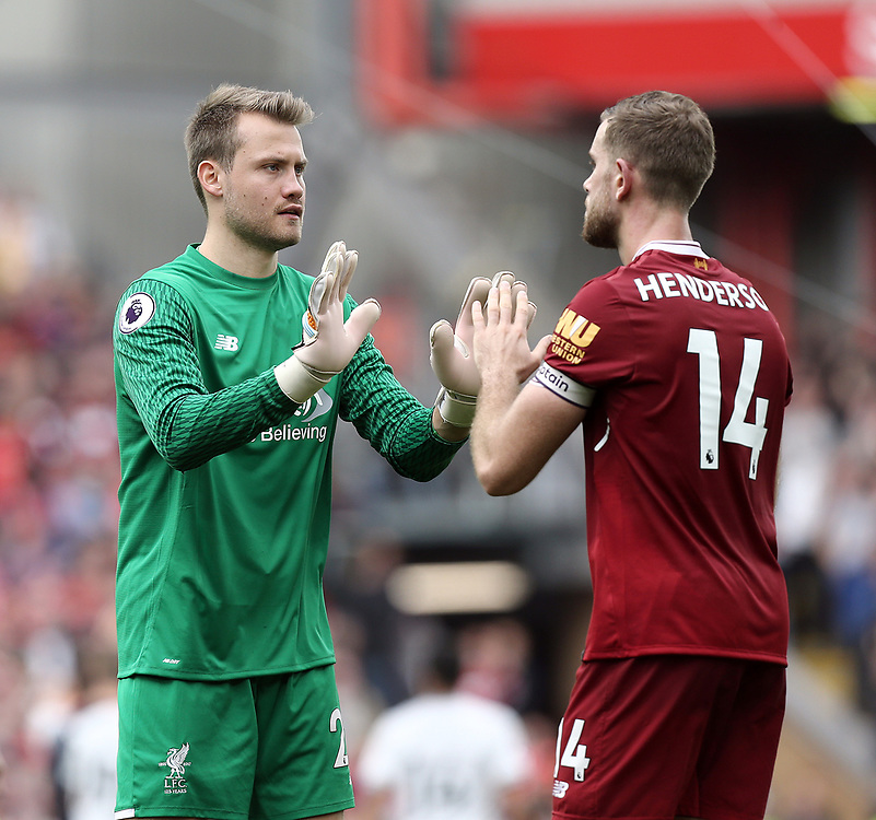 Liverpool's Simon Mignolet greets Jordan Henderson at the final whistle<br /> <br /> Photographer Rich Linley/CameraSport<br /> <br /> The Premier League - Liverpool v Manchester United - Saturday 14th October 2017 - Anfield - Liverpool<br /> <br /> World Copyright © 2017 CameraSport. All rights reserved. 43 Linden Ave. Countesthorpe. Leicester. England. LE8 5PG - Tel: +44 (0) 116 277 4147 - admin@camerasport.com - www.camerasport.com