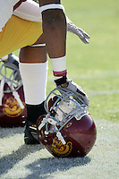 2 December 2006: Player holding helmet during Pac-10 college football upset UCLA beat the Trojans 13-9 during the final home game of the season for the UCLA Bruins vs the University of Southern California USC  Trojans at the Rose Bowl in Pasadena, CA.<br />