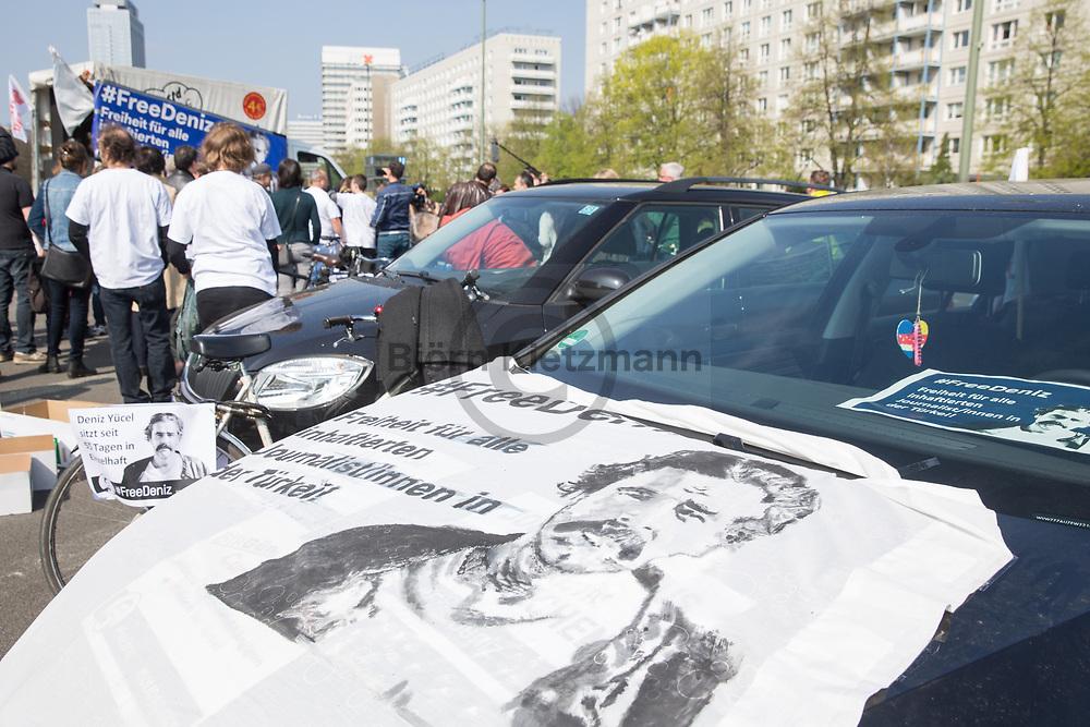 """Berlin, Germany - 09.04.2017<br /> <br /> Protests in Berlin for the release of german-turkish journalist Deniz Yuecel, who is imprisoned in Turkey. With a motorcade and a rally in front of the Turkish Embassy claim the protestors the release of the correspondent of the German daily """"Die Welt"""". Yücel is been in solitary confinement since 55 days - he is accused of terror propaganda.<br /> <br /> Proteste für die Freilassung des in der Tuerkei inhaftierten Journalisten Deniz Yuecel. Mit einem Autokorso und einer Kundgebung vor der tuerkischen Botschaft wurde fuer die Freilassung des Korrespondenten der deutschen Tageszeitung """"Die Welt"""" protestiert. Yuecel sitzt seit 55 Tagen in Einzelhaft - ihm wird Terrorpropaganda vorgeworfen.<br /> <br /> Photo: Bjoern Kietzmann"""