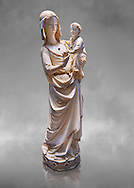 Medieval Gothic ivory statuette of the Virgin and Child with traces of polychrome, third quarter of 13th century before 1279 made in Paris. From the treasury of the Saint Chapelle, Paris. inv 67, The Louvre Museum, Paris. .<br /> <br /> If you prefer you can also buy from our ALAMY PHOTO LIBRARY  Collection visit : https://www.alamy.com/portfolio/paul-williams-funkystock . Type -    Louvre Madonna     - into the LOWER SEARCH WITHIN GALLERY box. Refine search by adding background colour, place, museum etc<br /> <br /> Visit our MEDIEVAL ART PHOTO COLLECTIONS for more   photos  to download or buy as prints https://funkystock.photoshelter.com/gallery-collection/Medieval-Middle-Ages-Art-Artefacts-Antiquities-Pictures-Images-of/C0000YpKXiAHnG2k .<br /> <br /> If you prefer you can also buy from our ALAMY PHOTO LIBRARY  Collection visit : https://www.alamy.com/portfolio/paul-williams-funkystock/gothic-art-antiquities.html  Type -   louvre     - into the LOWER SEARCH WITHIN GALLERY box. Refine search by adding background colour, place, museum etc<br /> <br /> Visit our MEDIEVAL ART PHOTO COLLECTIONS for more   photos  to download or buy as prints https://funkystock.photoshelter.com/gallery-collection/Medieval-Gothic-Art-Antiquities-Historic-Sites-Pictures-Images-of/C0000gZ8POl_DCqE