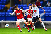 Fleetwood Town's Ched Evans competes with Bolton Wanderers' Luke Murphy<br /> <br /> Photographer Richard Martin-Roberts/CameraSport<br /> <br /> The EFL Sky Bet League One - Bolton Wanderers v Fleetwood Town - Saturday 2nd November 2019 - University of Bolton Stadium - Bolton<br /> <br /> World Copyright © 2019 CameraSport. All rights reserved. 43 Linden Ave. Countesthorpe. Leicester. England. LE8 5PG - Tel: +44 (0) 116 277 4147 - admin@camerasport.com - www.camerasport.com