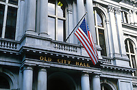 Old City Hall, Boston, Massachusetts, USA, 19880503BOS2..Copyright Image from Victor Patterson, 54 Dorchester Park, Belfast, UK, BT9 6RJ..Tel: +44 28 9066 1296.Mob: +44 7802 353836.Voicemail +44 20 8816 7153.Skype: victorpattersonbelfast.Email: victorpatterson@me.com.Email: victorpatterson@ireland.com (back-up)..IMPORTANT: If you wish to use this image or any other of my images please go to www.victorpatterson.com and click on the Terms & Conditions. Then contact me by email or phone with the reference number(s) of the image(s) concerned.