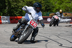 Josh Slegh  (76) - Super Hooligan qualifying heat at the Revival and Roland Sands sponsored races on a tight TT race course set up in the parking lot of the Austin American Statesman outside during the Handbuilt Show. Austin, Texas USA. Saturday, April 13, 2019. Photography ©2019 Michael Lichter.