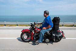 Curtis Venable riding the Florida Keys on his 1940 Harley-Davidson ULH Flathead in the Cross Country Chase motorcycle endurance run from Sault Sainte Marie, MI to Key West, FL. (for vintage bikes from 1930-1948). Stage-10 covered 110 miles from Miami to the finish in Key West, FL USA. Sunday, September 15, 2019. Photography ©2019 Michael Lichter.
