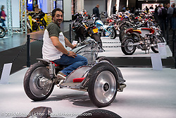 Vincenzo Ciancio on his Inglourious Basterds (Italy) built PanUral 900 cc Ural bottom end - Harley-Davidson top end custom with sidecar in the AMD World Championship of Custom Bike Building in the custom themed Hall 10 at the Intermot Motorcycle Trade Fair. Cologne, Germany. Tuesday October 4, 2016. Photography ©2016 Michael Lichter.