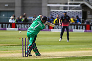 Paul Stirling of Ireland is bowled by Mark Wood of England during the One Day International match between England and Ireland at the Brightside County Ground, Bristol, United Kingdom on 5 May 2017. Photo by Andrew Lewis.