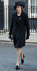 Prime Minister Theresa May leaves number 10 Downing Street on her way to the annual Remembrance Sunday Service at the Cenotaph memorial in Whitehall, central London, held in tribute for members of the armed forces who have died in major conflicts.