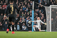 Willy Caballero (Manchester City) makes the save from Gary Mackay-Steven (Celtic) during the Champions League match between Manchester City and Celtic at the Etihad Stadium, Manchester, England on 6 December 2016. Photo by Mark P Doherty.