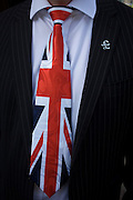 A Union jack tie and political pin detail of UKIP (UK Independence Party) member from Ayelsbury Vale District council, Cllr Chris Adams.