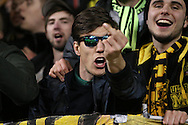 a Borussia Dortmund fan chanting before k/o. UEFA Europa League round of 16, 2nd leg match, Tottenham Hotspur v Borussia Dortmund at White Hart Lane in London on Thursday 17th March 2016<br /> pic by John Patrick Fletcher, Andrew Orchard sports photography.