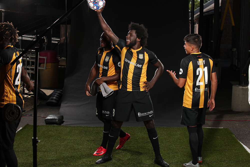 Victor Mansaray (20), Tah Brian Anunga (22), Neveal Hacksaw (8), Angelo Kelly (21)<br /> Media Day, Home Kits, Charleston Battery at MUSC Health Stadium in Charleston, S.C. on Tuesday, June 19, 2018.<br /> Zach Bland/Charleston Battery