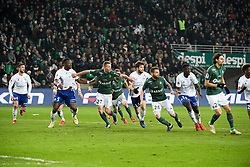 February 13, 2019 - Saint Etienne, France - 04 PABLO MARTINEZ (STRA) - 05 LAMINE KONE (STRA) - 27 ROBERT BERIC (ASSE) - 14 SANJIN PRCIC (STRA) - 26 MATHIEU DEBUCHY  (Credit Image: © Panoramic via ZUMA Press)