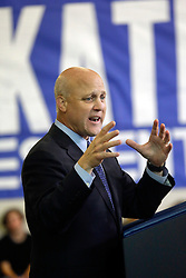 27 August 2015. Andrew P. Sanchez & Copelin-Byrd Multi Service Center, Lower 9th Ward, New Orleans, Louisiana.<br /> Mayor Mitch Landrieu addresses the crowd before President Barack Obama speaks. <br /> Photo credit©; Charlie Varley/varleypix.com.