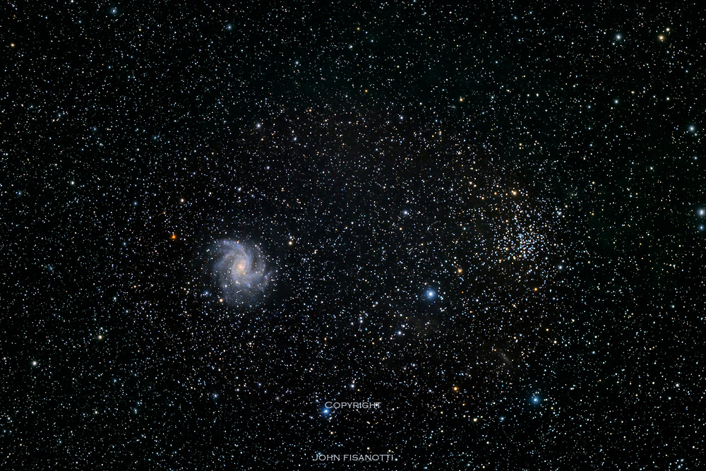 NGC 6946, the Fireworks Galaxy and NGC 6939, open cluster