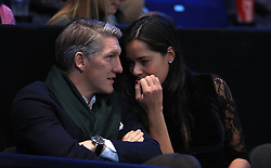 Bastian Schweinsteiger and Ana Ivanovic in the stands during day eight of the Barclays ATP World Tour Finals at The O2, London.