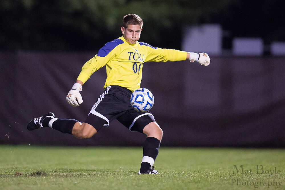 TCNJ Men's Soccer Sophomore GoalkeeperK Maciej Libucha (00); The College of New Jersey vs. Gwynedd-Mercy at Rowan University in Glassboro, NJ on Friday September 6, 2013. (photo / Mat Boyle)