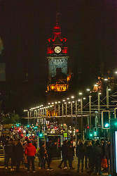 01JAN21 People on Princes Street, Edinburgh after midnight on Hogmanay.