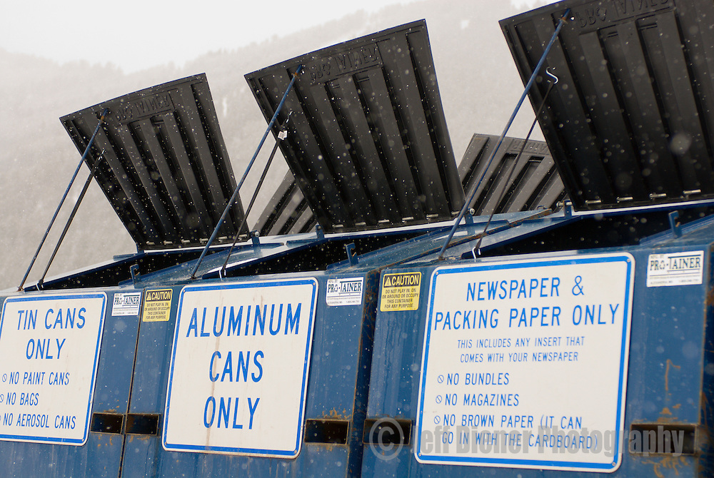 A Jackson Community Recycling station in downtown Jackson, Wyoming.