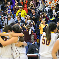 022715       Adron Gardner/Independent<br /> <br /> Fans photograph the Tohatchi lady Cougars after they beat the Navajo Prep Eagles for the district 1AAA championship in Tohatchi Friday.