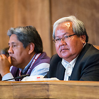 071513       Brian Leddy<br /> Navajo Nation Speaker Johnny Naize listens during the summer council session Monday in Window Rock.