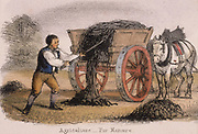 The manure cart. From 'Graphic Illustrations of Animals and Their Utility to Man', London, c1850.