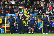 Burton Albion's manager Nigel Clough makes a substitution, bringing on Burton Albion's Luke Varney during the EFL Sky Bet Championship match between Burton Albion and Ipswich Town at the Pirelli Stadium, Burton upon Trent, England on 28 October 2017. Photo by John Potts.