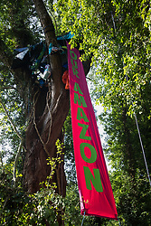 A banner hangs from a tree house created by activists seeking to protect trees on 26th June 2020 in Denham, United Kingdom. Activists from HS2 Rebellion and Extinction Rebellion UK are taking part in a 'Rebel Trail' hike along the route of the HS2 high-speed rail link in protest against its environmental impact and to question the viability of the £100bn+ project.
