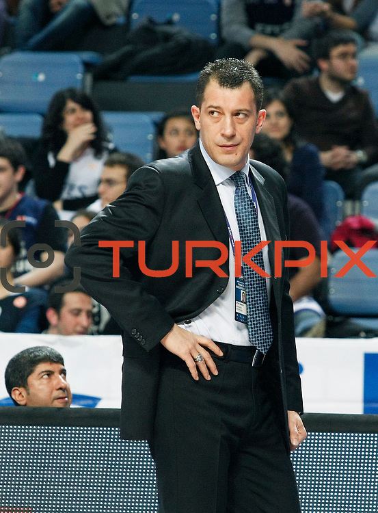 Efes Pilsen's coach Ufuk SARICA during their Turkish Basketball league match Efes Pilsen between Olin Edirne at the Sinan Erdem Arena in Istanbul Turkey on Friday 06 May 2011. Photo by TURKPIX