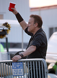 29 April 2012. New Orleans, Louisiana,  USA. <br /> New Orleans Jazz and Heritage Festival. <br /> Bruce Springsteen after the concert.<br /> Photo; Charlie Varley/varleypix.com