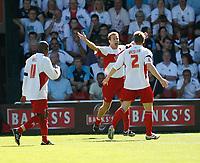 Photo: Steve Bond.<br />Walsall v Swansea City. Coca Cola League 1. 25/08/2007. Martin Butler (C) celebrates his early goal for Walsall