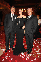 Left to right, ARNAUD BAMBERGER MD of Cartier UK, MONICA BELLUCI and BERNARD FORNAS CEO of Cartier at a party to celebrate the launch of the 'Inde Mysterieuse' jewellery collection held at Lancaster House, London SW1 on 19th September 2007.<br />