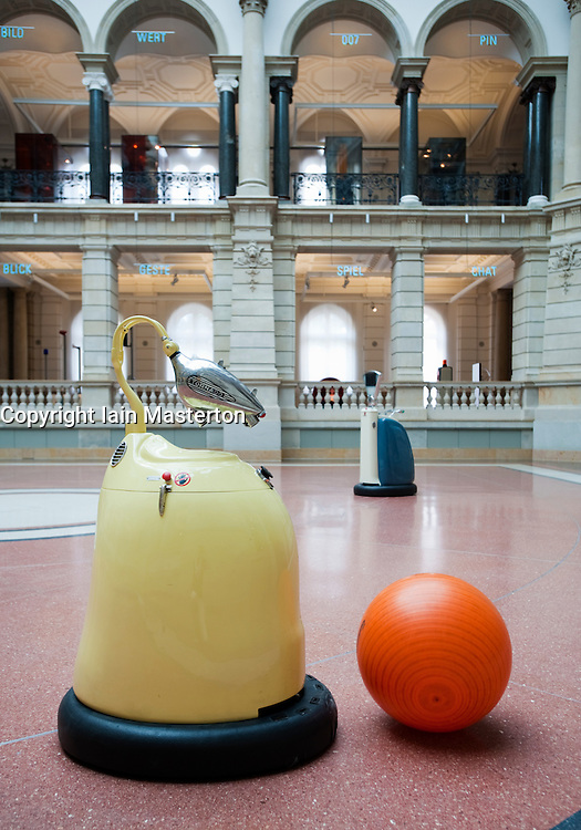 Football playing robots at the Communication Museum in Mitte Berlin Germany