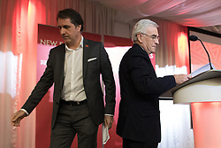 © Licensed to London News Pictures . 04/02/2017 . Liverpool, UK . JOHN MCDONNELL speaks as STEVE ROTHERHAM (l) leaves the podium . Labour Party leader Jeremy Corbyn and Shadow Chancellor John McDonnell launch the party's first regional economic conference at the Devonshire House Hotel . Photo credit : Joel Goodman/LNP