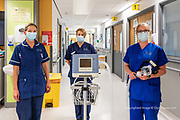 Nursing staff at Ysbyty Glan Clwyd with the portable Cpac ventilation units, so essential to aid breathing for seriously ill patients. <br /> <br /> From my exhibition series for  Betsi Cadwaladr via the Betsi Research Unit.<br /> <br /> My brief was not frontline action as seen on all news outlets, but the way hospitals & staff have adapted to cope with the crisis, from PPE to social distancing & also those vital behind the frontline workers essential throughout the crisis to support frontline NHS staff.<br />  <br /> A small touring exhibition will be open to the public when safer times permit.