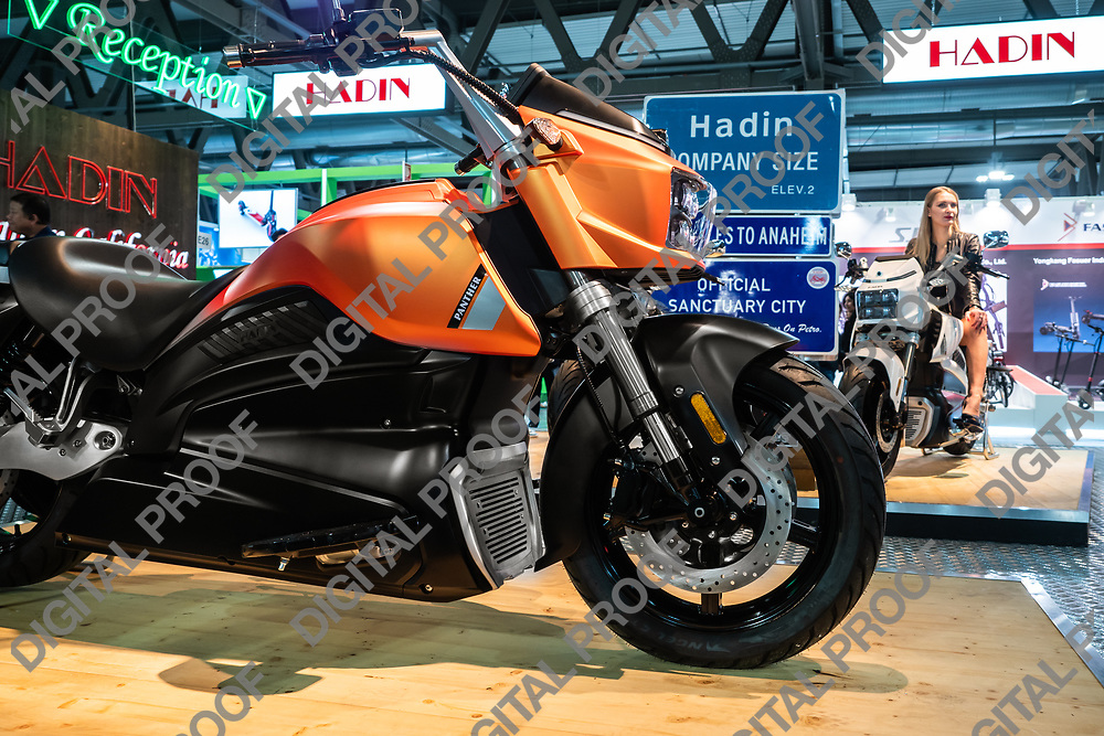 RHO Fieramilano, Milan Italy - November 07, 2019 EICMA Expo. Panther Model an Electric motorcycle from HADIN American Company