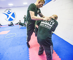 Alan practising his kicks. Stef Noij, KMG Instructor from the Institute Krav Maga Netherlands, takes the IKMS G Level Programme seminar today at the Scottish Martial Arts Centre, Alloa.