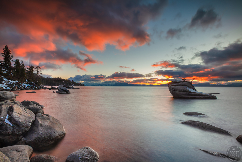 """Bonsai Rock Sunset 12"" - Photograph of a bright sunset at Bonsai Rock on the east shore of Lake Tahoe."