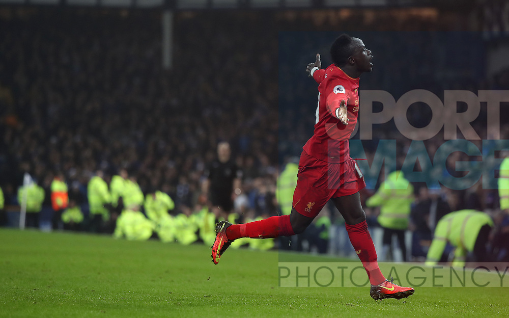 Sadio Mané of Liverpool celebrates during the English Premier League match at Goodison Park, Liverpool. Picture date: December 19th, 2016. Photo credit should read: Lynne Cameron/Sportimage