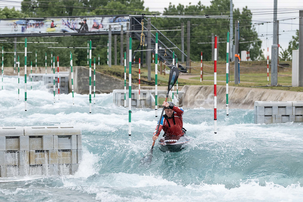 Mens slalom kayaker, Christopher Bowers, at Lee Valley White Water Centre with Team GB Canoe Slalom Team on the 7th June 2019 in London in the United Kingdom.