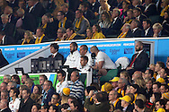 Stuart Lancaster, the England head coach © watches on from his position in stand. Rugby World Cup 2015 pool A match, England v Australia at Twickenham Stadium in London, England  on Saturday 3rd October 2015.<br /> pic by  John Patrick Fletcher, Andrew Orchard sports photography.