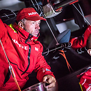 Leg 6 to Auckland, day 12 on board MAPFRE, Rob Greenhalgh looking at the sched with Xabi Fernandez. 18 February, 2018.