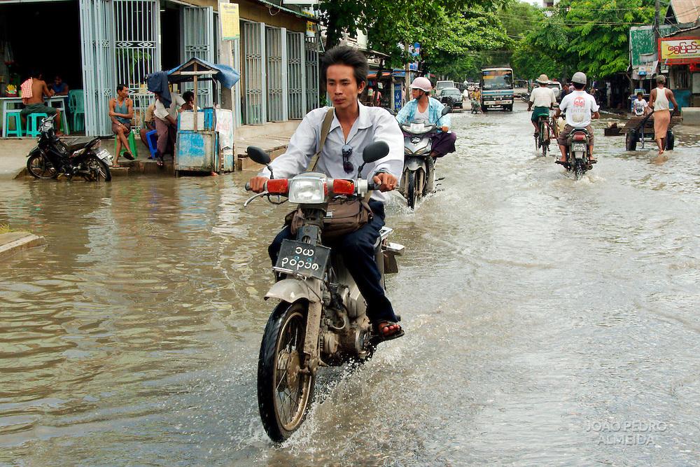 Streets od Mandalay flooded by monsoon rain