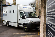 New prisoners arrive in a Geoamey transport van to HMP/YOI Portland, a resettlement prison with a capacity for 530 prisoners.