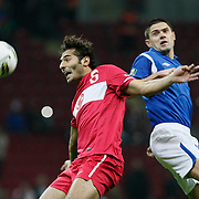 Turkey's Hamit ALTINTOP (L) during their UEFA EURO 2012 Qualifying round Group A soccer match Turkey betwen Azerbaijan at TT Arena in Istanbul October 11, 2011. Photo by TURKPIX
