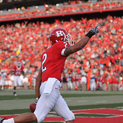 Oct 10, 2009; Piscataway, NJ, USA; Rutgers wide receiver Tim Brown (2) celebrates a touchdown reception during second half NCAA college football action in Rutgers' 42-0 victory over Texas Southern at Rutgers Stadium.