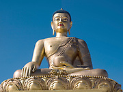 The huge 50 metre tall steel Buddha Dordenma statue, the largest Buddha statue in the world is situated on a ridge top overlooking Thimphu, the capital city of Bhutan.