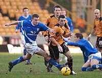 Photo: Ed Godden.<br />Wolverhampton Wanderers v Ipswich Town. Coca Cola Championship. 18/02/2006. <br />Ipswich's Ian Westlake (L) fouls Wolves player Mark Davies.