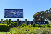 Sign and Banner at Crawford Hall and Pool Practice Facilities for Athletes at the University of California Irvine