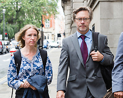© Licensed to London News Pictures. 23/06/2016. LONDON, UK.  The parents of Jack Letts: John Letts and Sally Lane arrive at the Old Bailey charged with terrorist offences.  Both have pleaded not guilty to three counts of making money available knowing or having reasonable cause to suspect that it may be used for a terrorist purpose. Mrs Lane is charged with two further counts of attempting to provide money knowing it may be used to fund terrorism, and has pleaded not guilty to both. Photo credit: Vickie Flores/LNP