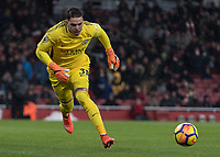 Football - 2017 / 2018 Premier League - Arsenal vs. Manchester City<br /> <br /> Ederson Moraes (Manchester City) rushes to pounce on the loose ball at The Emirates.<br /> <br /> COLORSPORT/DANIEL BEARHAM